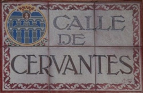 Plaque de la rue Cervantès à Ségovie, Espagne