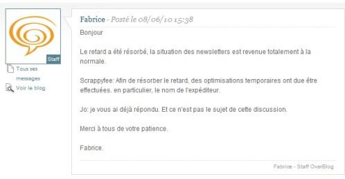 La réponse du Staff par l'intermédiaire de Fabrice sur le Forum d'aide