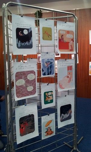 Ses images en format A4, pendant l'exposition.