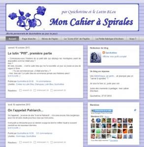 Page d'accueil de mon cahier à spirales sur Blogspot