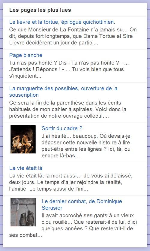 """Le """"top 5"""" du Cahier à spirales, en dante du 11 décembre 2013"""