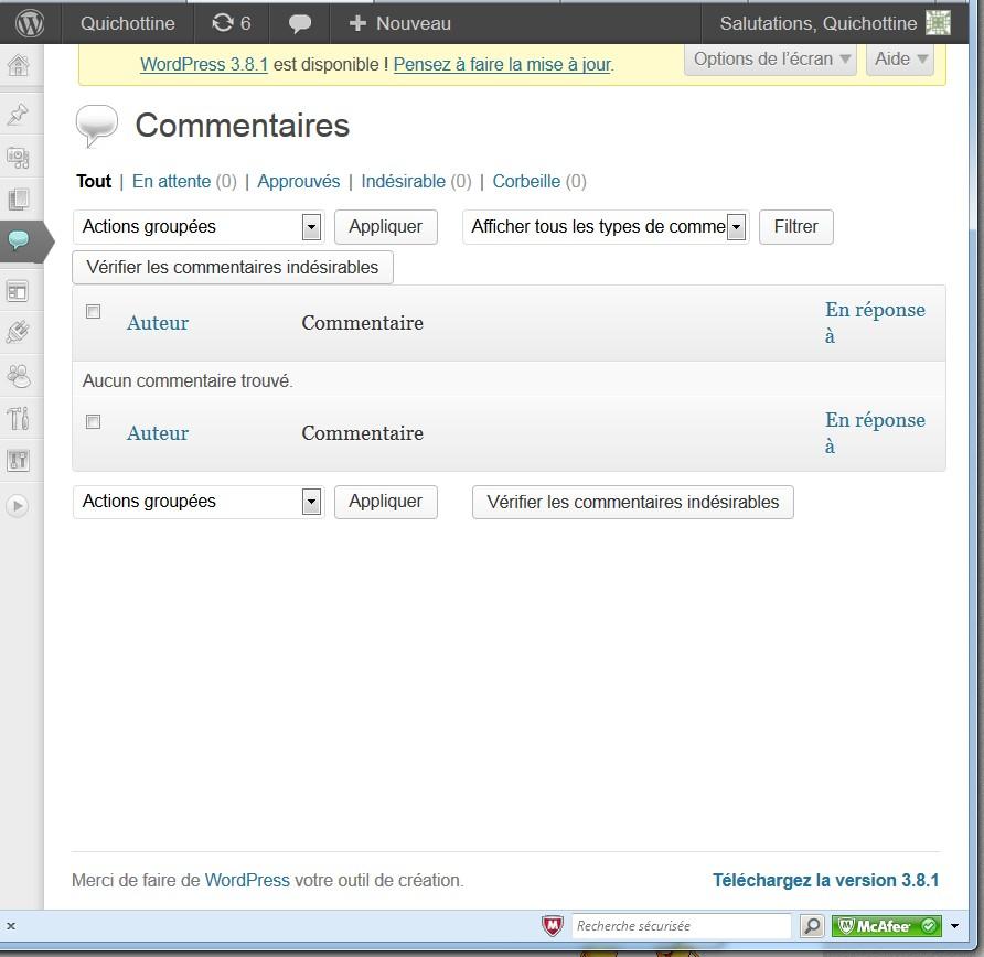 """Page de commentaire """"vide"""" le 30 janvier 2014"""